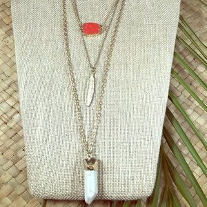 Jewelry - Layered necklace chain. Feather, stone and quartz